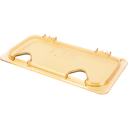 10480Z13 - StorPlus™ EZ Access Hinged High Heat Lid with Handle and Two Notches Universal Third Size - Amber