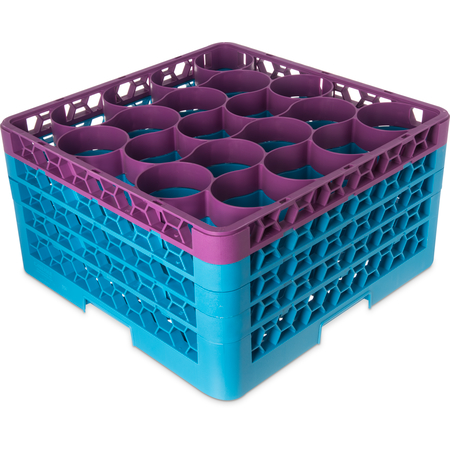 RW20-3C414 - OptiClean™ NeWave™ Color-Coded Glass Rack with 4 Integrated Extenders 20 Compartment - Lavender-Carlisle Blue