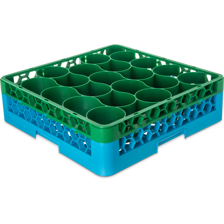 RW20-C413 - OptiClean™ NeWave™ Color-Coded Glass Rack with Integrated Extender 20 Compartment - Green-Carlisle Blue