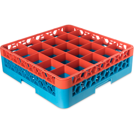"""RG25-1C412 - OptiClean™ 25-Compartment Divided Glass Rack with 1 Extender 5.56"""" - Orange-Carlisle Blue"""