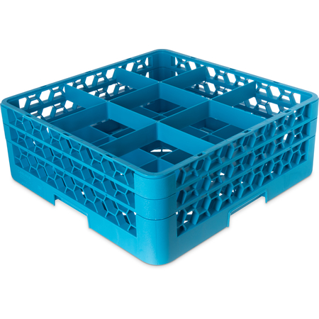"RG9-214 - OptiClean™ 9-Compartment Divided Glass Rack with 2 Extenders 7.12"" - Carlisle Blue"
