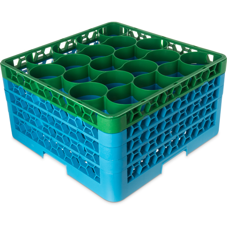 RW20-3C413 - OptiClean™ NeWave™ Color-Coded Glass Rack with 4 Integrated Extenders 20 Compartment - Green-Carlisle Blue