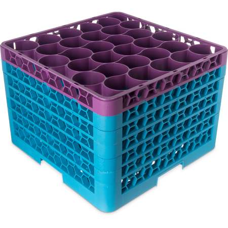 RW30-4C414 - OptiClean™ NeWave™ Color-Coded Glass Rack with 5 Integrated Extenders 30 Compartment - Lavender-Carlisle Blue