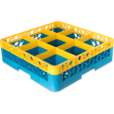 "RG9-1C411 - OptiClean™ 9 Compartment Glass Rack with 1 Extender 5.56"" - Yellow-Carlisle Blue"