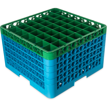 "RG49-5C413 - OptiClean™ 49-Compartment Divided Glass Rack with 5 Extenders 11.9"" - Green-Carlisle Blue"