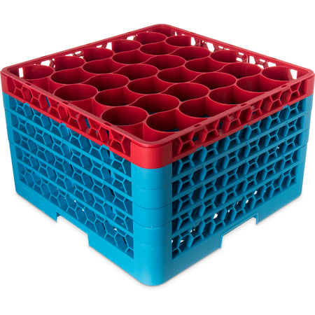 RW30-3C410 - OptiClean™ NeWave™ Color-Coded Glass Rack with 4 Integrated Extenders 30 Compartment - Red-Carlisle Blue