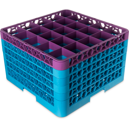 "RG25-5C414 - OptiClean™ 25-Compartment Divided Glass Rack with 5 Extenders 11.9"" - Lavender-Carlisle Blue"