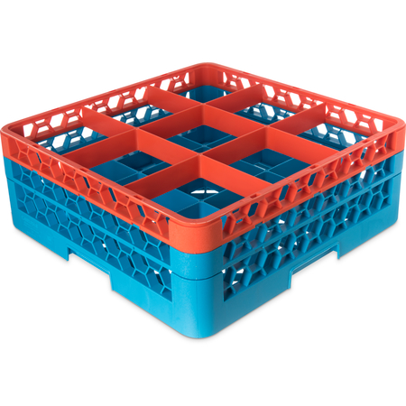 "RG9-2C412 - OptiClean™ 9-Compartment Divided Glass Rack with 2 Extenders 7.12"" - Orange-Carlisle Blue"