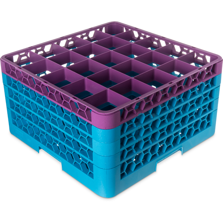 """RG25-4C414 - OptiClean™ 25-Compartment Divided Glass Rack with 4 Extenders 10.3"""" - Lavender-Carlisle Blue"""
