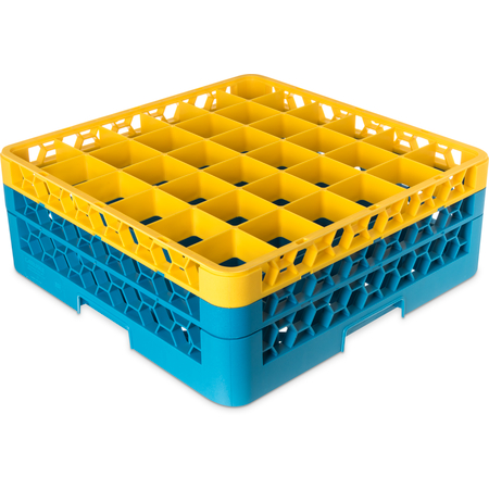 "RG36-2C411 - OptiClean™ 36-Compartment Divided Glass Rack with 2 Extenders 7.12"" - Yellow-Carlisle Blue"