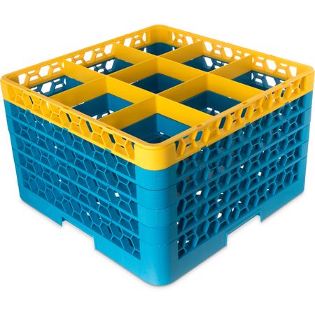 "RG9-5C411 - OptiClean™ 9-Compartment Divided Glass Rack with 5 Extenders 11.9"" - Yellow-Carlisle Blue"