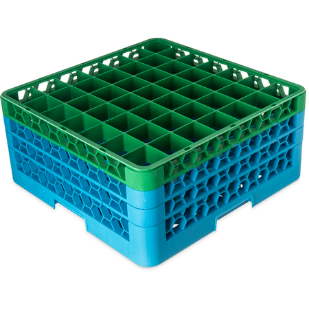 "RG49-3C413 - OptiClean™ 49-Compartment Divided Glass Rack with 3 Extenders 8.72"" - Green-Carlisle Blue"