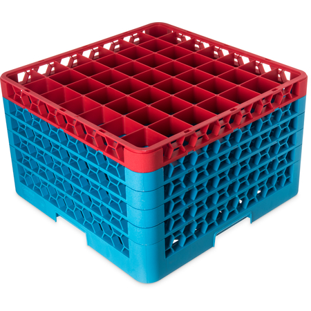 "RG49-5C410 - OptiClean™ 49-Compartment Divided Glass Rack with 5 Extenders 11.9"" - Red-Carlisle Blue"