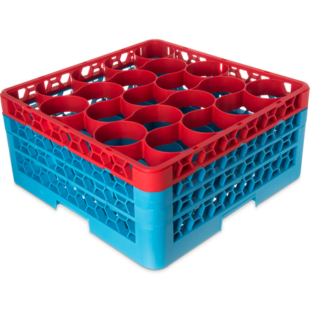 RW20-2C410 - OptiClean™ NeWave™ Color-Coded Glass Rack with 3 Integrated Extenders 20 Compartment - Red-Carlisle Blue
