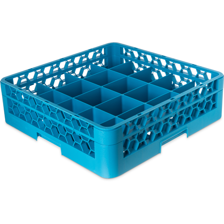 RC20-114 - OptiClean™ 20-Compartment Divided Tilted Glass Rack with 1 Open Extender 20 Compartment - Carlisle Blue