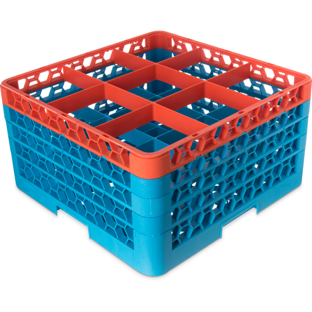 """RG9-4C412 - OptiClean™ 9-Compartment Divided Glass Rack with 4 Extenders 10.3"""" - Orange-Carlisle Blue"""