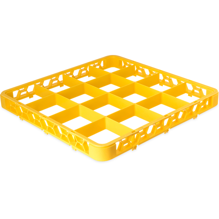 """RE16C04 - OptiClean™ 16-Compartment Divided Glass Rack Extender 1.78"""" - Yellow"""
