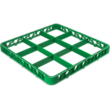"""RE9C09 - OptiClean™ 9-Compartment Divided Glass Rack Extender 1.78"""" - Green"""