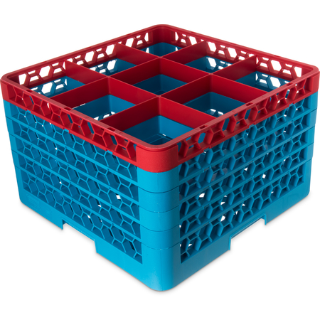 "RG9-5C410 - OptiClean™ 9 Compartment Glass Rack with 5 Extenders 11.9"" - Red-Carlisle Blue"