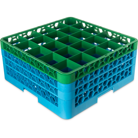 "RG25-3C413 - OptiClean™ 25-Compartment Divided Glass Rack with 3 Extenders 8.72"" - Green-Carlisle Blue"