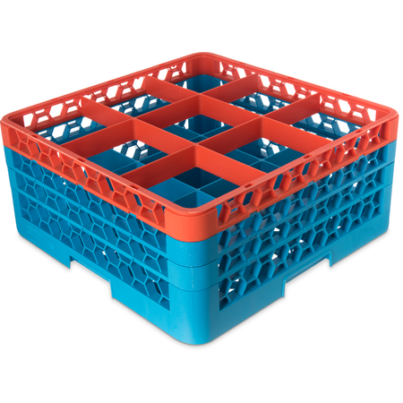 "RG9-3C412 - OptiClean™ 9-Compartment Divided Glass Rack with 3 Extenders 8.72"" - Orange-Carlisle Blue"