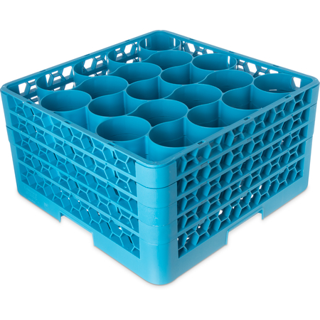 RW20-314 - OptiClean™ NeWave™ Glass Rack with 4 Integrated Extenders 20 Compartment - Carlisle Blue