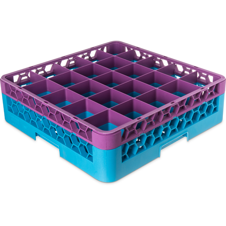 "RG25-1C414 - OptiClean™ 25-Compartment Divided Glass Rack with 1 Extender 5.56"" - Lavender-Carlisle Blue"