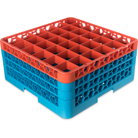"RG36-3C412 - OptiClean™ 36 Compartment Glass Rack with 3 Extenders 8.72"" - Orange-Carlisle Blue"