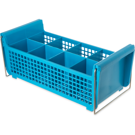 "C32P214 - Perma-Sil™ 8-Compartment Flatware Storage Basket with Handles 17"" x 7.75"" x 6.9"" - Carlisle Blue"