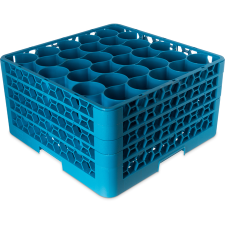 RW30-214 - OptiClean™ NeWave™ Glass Rack with 3 Integrated Extenders 30 Compartment - Carlisle Blue