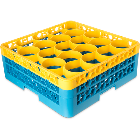RW20-1C411 - OptiClean™ NeWave™ Color-Coded Glass Rack with 2 Integrated Extenders 20 Compartment - Yellow-Carlisle Blue