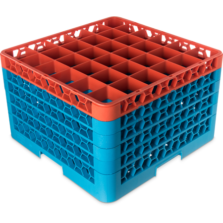 "RG36-5C412 - OptiClean™ 36-Compartment Divided Glass Rack with 5 Extenders 11.9"" - Orange-Carlisle Blue"