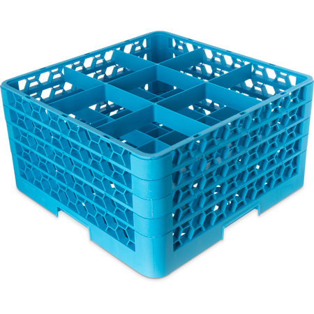 RG9-414 - OptiClean™ 9-Compartment Divided Glass Rack with 4 Extenders  - Carlisle Blue