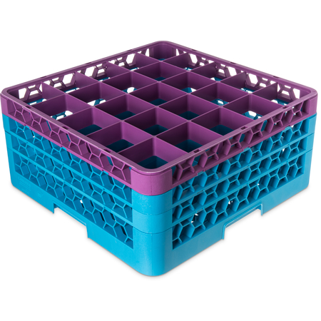 "RG25-3C414 - OptiClean™ 25-Compartment Divided Glass Rack with 3 Extenders 8.72"" - Lavender-Carlisle Blue"