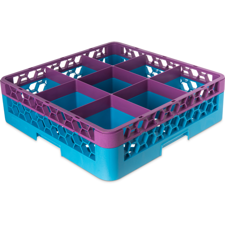 "RG9-1C414 - OptiClean™ 9 Compartment Glass Rack with 1 Extender 5.56"" - Lavender-Carlisle Blue"