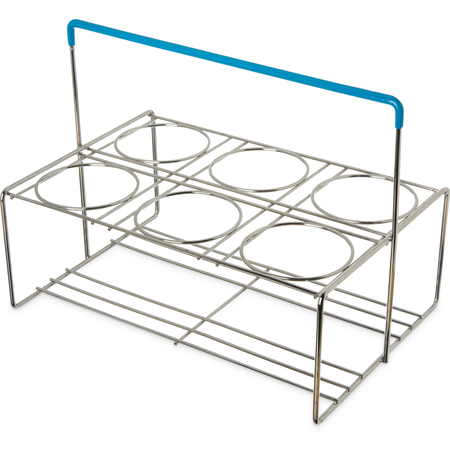"""CW6C38 - Perma-Sil™ 6-Compartment Flatware Cylinder Carrier 15.5"""" x 10.1"""" x 11.25"""" - Chrome"""