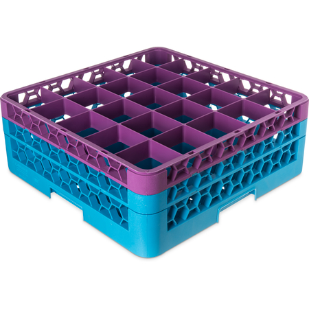 """RG25-2C414 - OptiClean™ 25 Compartment Glass Rack with 2 Extenders 7.12"""" - Lavender-Carlisle Blue"""