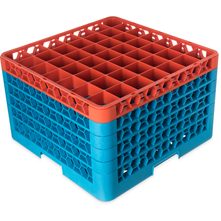 "RG49-5C412 - OptiClean™ 49-Compartment Divided Glass Rack with 5 Extenders 11.9"" - Orange-Carlisle Blue"