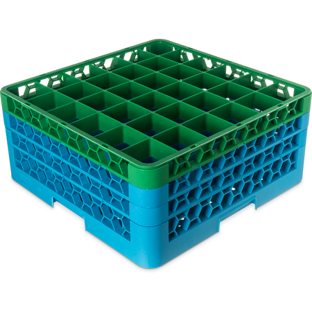 "RG36-3C413 - OptiClean™ 36-Compartment Divided Glass Rack with 3 Extenders 8.72"" - Green-Carlisle Blue"