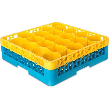 RW20-C411 - OptiClean™ NeWave™ Color-Coded Glass Rack with Integrated Extender 20 Compartment - Yellow-Carlisle Blue