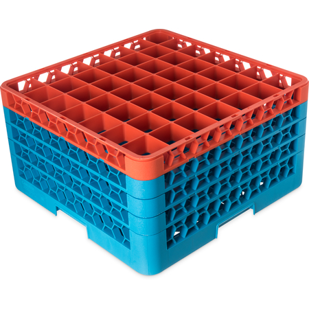 "RG49-4C412 - OptiClean™ 49-Compartment Divided Glass Rack with 4 Extenders 10.3"" - Orange-Carlisle Blue"