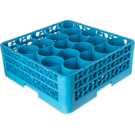 RW20-114 - OptiClean™ NeWave™ Glass Rack with 2 Integrated Extenders 20 Compartment - Carlisle Blue