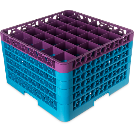 """RG36-5C414 - OptiClean™ 36-Compartment Divided Glass Rack with 5 Extenders 11.9"""" - Lavender-Carlisle Blue"""