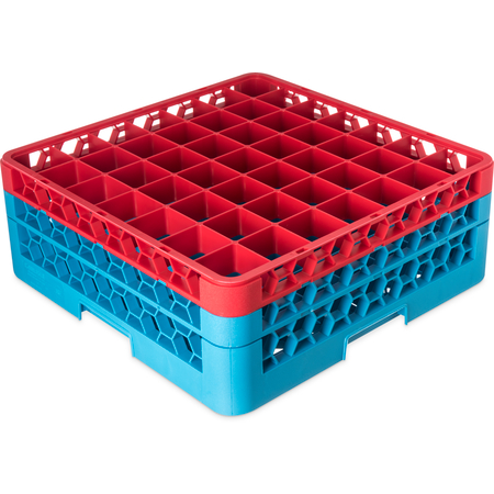 """RG49-2C410 - OptiClean™ 49-Compartment Divided Glass Rack with 2 Extenders 7.12"""" - Red-Carlisle Blue"""