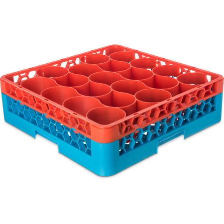 RW20-C412 - OptiClean™ NeWave™ Color-Coded Glass Rack with Integrated Extender 20 Compartment - Orange-Carlisle Blue