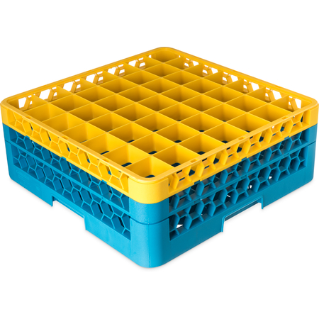 "RG49-2C411 - OptiClean™ 49-Compartment Divided Glass Rack with 2 Extenders 7.12"" - Yellow-Carlisle Blue"
