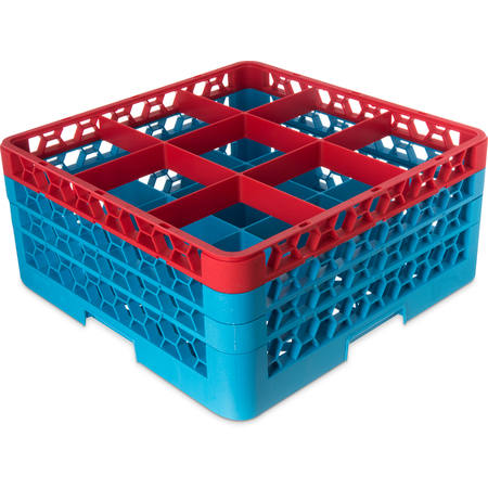 "RG9-3C410 - OptiClean™ 9 Compartment Glass Rack with 3 Extenders 8.72"" - Red-Carlisle Blue"
