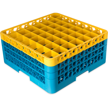 """RG49-3C411 - OptiClean™ 49 Compartment Glass Rack with 3 Extenders 8.72"""" - Yellow-Carlisle Blue"""