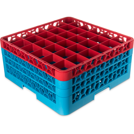 "RG36-3C410 - OptiClean™ 36-Compartment Divided Glass Rack with 3 Extenders 8.72"" - Red-Carlisle Blue"