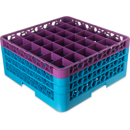 """RG36-3C414 - OptiClean™ 36-Compartment Divided Glass Rack with 3 Extenders 8.72"""" - Lavender-Carlisle Blue"""